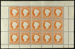1880-81 COMPLETE SHEETLET ½d Dull Orange, CC Upright Wmk, SG 11B, COMPLETE SHEETLET Of 15 Stamps With Selvedge To All Si - Gambia (...-1964)