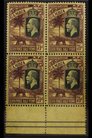 1922-29 7½d Purple On Yellow Elephant Wmk SCA, SG 132, Superb Mint (two Stamps Are Never Hinged) Lower Marginal BLOCK Of - Gambia (...-1964)