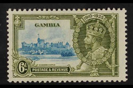 """1935 SILVER JUBILEE VARIETY 6d Light Blue & Olive Green """"EXTRA FLAGSTAFF"""" Variety, SG 145a, Very Fine Mint For More Imag - Gambia (...-1964)"""