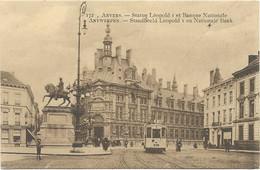 CPA - édit. J.B. Verhoeven - 172 - ANVERS - Statue Léopold I Et Banque Nationale - 1 Er Plan : Tramway - Antwerpen