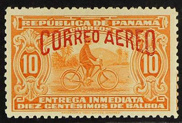 """1929 10c Orange Air """"Correo Aereo"""" OVERPRINT IN RED Variety (Sanabria 7, Scott C2 Var - See Note In The Catalogue), Fine - Panama"""