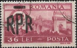ROMANIA 1948 Saligny Bridge, Cernavoda Overprinted RPR - 36l - Lake FU - Oblitérés