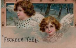 MAGNIFIQUE Illustrée Dorée  : Deux Anges Dorés Et étoilés Sur Fond De Paysane De Neige - Angels
