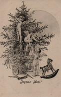 Illustrée Genre Viennoise :   Anges Garnissant Le Sapin De Noël - Anges