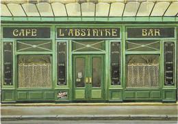 CPM - édit. CLAUDE AUBERT - RF 12 - CAFE BAR L'ABSINTHE PARIS, Par ANDRE RENOUX - Caffé