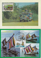 Philippines 2000 / 2001 2 Maximum Card Transport Bus And Sailing Boat Ship - Sin Clasificación