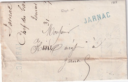 FRANCE 1868 LETTRE DE JARNAC AVEC CORRESPONDANCE - 1801-1848: Vorläufer XIX