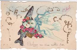 Fête : 1er Avril - Poisson D'Avril : Carte Festonnée : Avec Collage : Poisson - Colombe : Toilée - 1 De April (pescado De Abril)