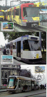 Belgium 2008 3 Maximum Card Train Tram Railroad Railway Transport - Treni