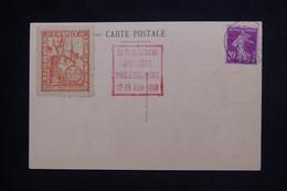 FRANCE - Vignette De L'Exposition Philatélique De Beaune Sur Carte Postale En 1933 - L 101821 - Briefe U. Dokumente