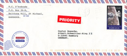 Barbados Air Mail Cover Sent To Germany 2000 Single Franked - Barbades (1966-...)