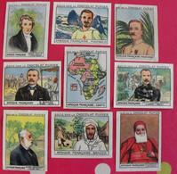 Lot 9 Images Chocolat Pupier. Album Afrique 1950. Colonies Françaises Explorateurs Brazza Lavigerie Grandidier Monteil - Altri