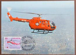 Carte Maximum 1984 Helicoptere Rega Davos Maxikarte Card Suisse Maxicard - Cartoline Maximum