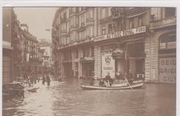 Luzern, Hochwasser 1910. AU TIGRE ROYAL Fourrures, Seiden Grieder, Boot Etc. Fotokarte - LU Lucerne