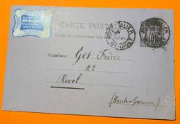 Hérault Montpellier - étiquette Commerciale - Entier 10 C Sage - 1890 - 1877-1920: Periodo Semi Moderno