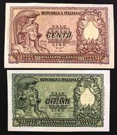 50 +100 Lire Italia Elmata 1951 Fds / Bb+ Bolaffi LOTTO 592 - 50 Liras