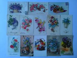 LOT + 90 CPA FANTAISIE Thème Fleur Violette Pensée Rose Oeillet Muguet Anémone Coquelicot Violette Illustrateur - Fiori