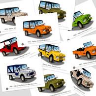 Cartes Postales Illustrées Citroën Méhari (10 Cartes) P1 - Turismo