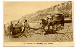 PORTUGAL - NAZARÉ  [ 096 ] - APRESTANDO PARA A PESCA FISHING Angeln Fischen - Leiria