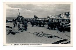 PORTUGAL - NAZARÉ  [ 0124  ] - REOLHENDO AS EMBARCAÇÕES DE PESCA   PESCA FISHING Angeln Fischen - Leiria