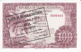 BILLETE DE GUINEA ECUATORIAL DE 100 PESETAS DEL AÑO 1969 CON SELLO MIL BIPKWELE SIN CIRCULAR (UNCIRCULATED) (BANKNOTE) - Equatorial Guinea