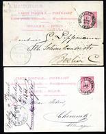Belgique 2 Cartes Postales #21 I Bruxelles à Berlin +Chemnitz Allemagne 1890-92 - Cartoline [1871-09]