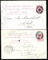 Belgique 2 Cartes Postales #21 I Bruxelles à Limbach + Plauen Allemagne 1889-91 - Cartoline [1871-09]