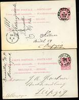 Belgique 2 Cartes Postales #21 I Bruxelles à Leipzig Allemagne 1889-90 - Cartoline [1871-09]