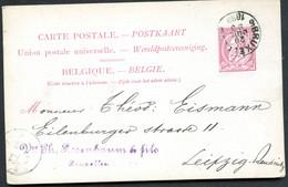 Belgique Carte Postale #21 I Bruxelles à Leipzig Allemagne 1889 - Cartoline [1871-09]