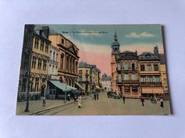 Carte Postale Ancienne Colorisée Mons Grand Place Et Rue De Nimy Timbrée - Mons