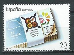 Espagne YT N°2578 Fédération Des Sociétés Philatéliques Espagnoles Neuf ** - 1981-90 Nuovi