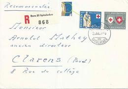 R Brief  Bern Spitalacker - Clarens   (Retouche)         1957 - Covers & Documents