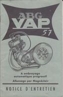 P-PLT-21-GF-230 : NOTICE ENTRETIEN MOTEUR ABG VAP 57. MOTOCYCLETTE. FABRIQUE A COURBEVOIE HAUTS-DE-SEINE - Other Plans