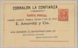 39382  - ARGENTINA - POSTAL HISTORY - STATIONERY CARD : Juarez Celman Type - PRIVATE REPRINT ! - Postal Stationery