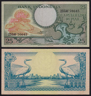 Indonesien - Indonesia 25 Rupiah Banknote 1959 Pick 67a UNC (1)  Schwan - Andere - Azië