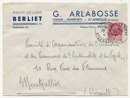 """FRANCE - Env. En-tête """"Agence BERLIET - G. Arbalosse - St Affrique (Aveyron) Affr1,50 Pétain 1945 - Automobile"""