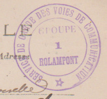 """52 – ROLAMPONT – MILITAIRE AVIATION – Cachet Lilas Militaire Au Verso """"SERVICE DE GARDE DES VOIES DE COMMUNICATION... - Otros Municipios"""