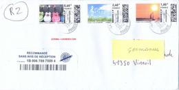 MONTIMBREENLIGNE LR R2 SANS AVIS DE RÉCEPTION - BANDE 3 VALEURS 0,60€ + 2,40€ & 1€ TàD LA POSTE 21958A Du 24-10-2012 - Documents Of Postal Services