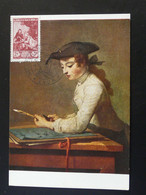 Carte Maximum Card Peinture Et Philatélie Chardin Lyon 1956 Ref B749 - 1950-59