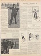 Le Polo à Bicyclette - Dribbling Avec La Roue De Devant - Page Originale 1898 - Historische Documenten