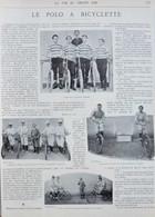 Le Polo à Bicyclette - Le Coup De Sifflet - Page Originale 1898 - Historische Documenten
