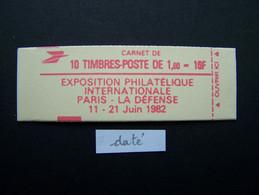 2187-C3 CONF. 9 CARNET DATE DU 18.11.81 FERME 10 TIMBRES LIBERTE DE GANDON 1,60 ROUGE PHILEXFRANCE 82 - Definitives