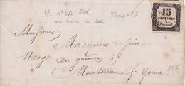 TAXE N°3 Du 15 C Noir Sur  Lettre Avec C15 De MONTEREAU  Du 7 Juin 1867(?) - 1859-1955 Covers & Documents