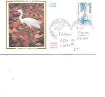 FRANCE N° 1820 SUR FDC SOIE L'AIGRETTE - Cranes And Other Gruiformes