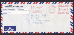 Hong Kong: Airmail Cover To Netherlands, 1985, Meter Cancel, EMCO Forwarders, IATA Logo, Transport (traces Of Use) - Covers & Documents