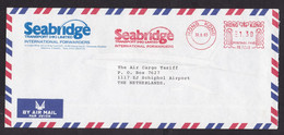Hong Kong: Airmail Cover To Netherlands, 1983, Meter Cancel, Seabridge Transport, Forwarders, Logo (traces Of Use) - Covers & Documents
