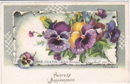 Fête : Heureux Anniversaire : à Paillettes Et Collage : Fleurs - Pensées : Illustrateur ROLAND -  édit. JDA N° 709 - Cumpleaños