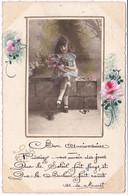 Fête : Bon Anniversaire : Collage : Fille Tenant Un Bouquet De Fleurs -  édit. E M E - Cumpleaños