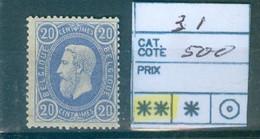 31 Xx Côte  500 € - 1869-1883 Leopoldo II