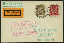 LUFTPOSTBESTÄTIGUNGSSTPL 32-01a BRIEF, ERFURT In Rot, Drucksache Von BERLIN Nach Erfurt, Prachtbrief - Posta Aerea